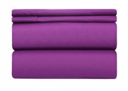12 Units of Deluxe Hotel Quality Double Brushed Microfiber 4 Piece Set Full Size In Lavender - Bed Sheet Sets