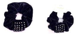 72 Units of Black Velvet Rhinestone Scrunchies - PonyTail Holders