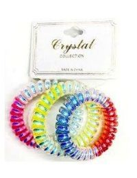 72 Units of Plastic Colored Scrunchies - PonyTail Holders