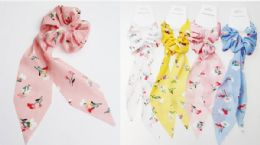 72 Units of Assorted Color Flower Print Scrunchies - PonyTail Holders