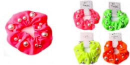 72 Units of Solid Color Scrunchies With Beads - PonyTail Holders