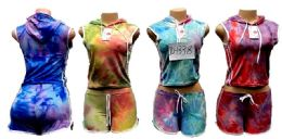 12 Units of Tie Dye Hoody With Shorts Set - Womens Active Wear