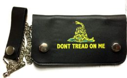 8 Units of Yellow Snake Don't Tread On me Biker Leather Wallet - Leather Wallets