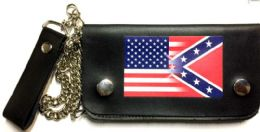 8 Units of USA Confederate Blended Leather Biker Wallet - Leather Wallets