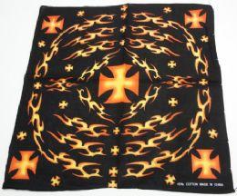 72 Units of Bandana Tribal Flames And Maltese Cross - Bandanas