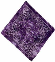 72 Units of Paisley Purple Tie Dye Bandana - Bandanas