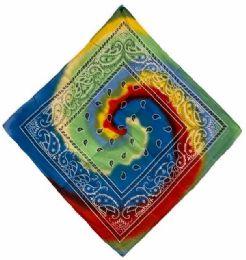 72 Units of Paisley Tie Dye Bandana - Bandanas