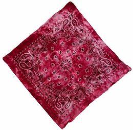 72 Units of Paisley Red Tie Dye Bandana - Bandanas