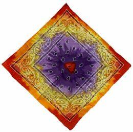 72 Units of Paisley Red Yellow Purple Tie Dye Bandana - Bandanas