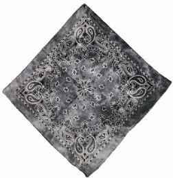 72 Units of Paisley Gray Tie Dye Bandana - Bandanas
