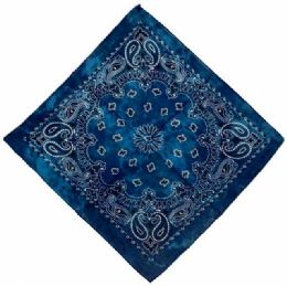 72 Units of Paisley Blue Tie Dye Bandana - Bandanas