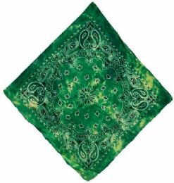 72 Units of Paisley Green Tie Dye Bandana - Bandanas