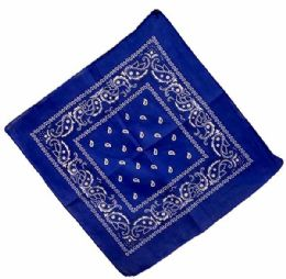 72 Units of Bandana Royal Blue Paisley Fabric - Bandanas