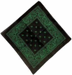 72 Units of Black color Bandana Green Color Paisley - Bandanas