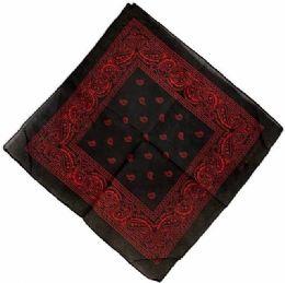 72 Units of Black Color Bandana Red Color Paisley - Bandanas
