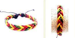120 Units of Rasta color faux leather bracelet - Bracelets