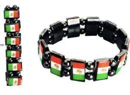96 Units of Bracelet Magnetic Hematite Mexico Flag - Bracelets