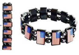 96 Units of Bracelet Magnetic Hematite America Flag - Bracelets