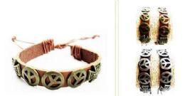 120 Units of Peace Sign Faux Leather Bracelet - Bracelets