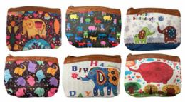 96 Units of Coin Purse With Zipper Assorted Elephant Design - Wallets & Handbags