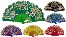 96 Units of Hand Fan Peacock With Lace - Novelty & Party Sunglasses
