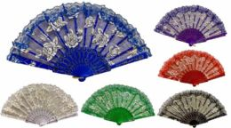 96 Units of Hand Fan Rose With Lace - Novelty & Party Sunglasses