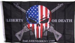 24 Units of Liberty Or Death USA Skull With Guns Flag - Signs & Flags