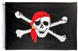 24 Units of Pirate With Eye Patch Red Bandana Flag - Signs & Flags