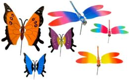 96 Units of Garden Stake Decoration Butterfly And Dragonfly - Garden Decor