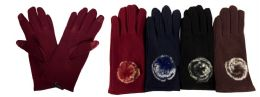 24 Units of Women Winter Touch Glove With Faux Fur Ball - Conductive Texting Gloves