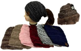 24 Units of Knitted Pony Tail Beanie Plush Lining Winter Hat - Winter Beanie Hats
