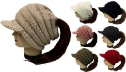 24 Units of Knitted Whinter Pony Tail Hat Plush Lining Winter Hat - Winter Beanie Hats