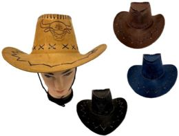 24 Units of Cowboy Hats Suede PU Leather Western Hats - Cowboy & Boonie Hat