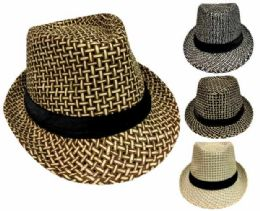 36 Units of Straw Fedora Hat - Fedoras, Driver Caps & Visor