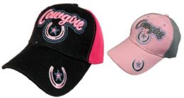 36 Units of Cowgirl Hat With Horseshoe Star - Baseball Caps & Snap Backs