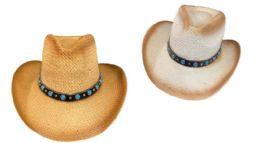 12 Units of Cowboy Hat With Aquamarine Hat Band - Cowboy & Boonie Hat