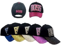 36 Units of BOSS Baseball Cap with Glitter on Bill - Baseball Caps & Snap Backs