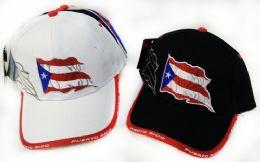36 Units of Adjustable Baseball Hat Puerto Rico Flag Assorted Color - Baseball Caps & Snap Backs
