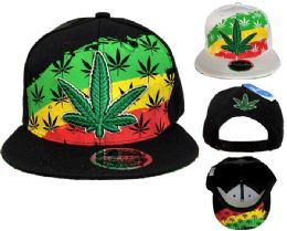 24 Units of Snap Back Flat Bill Large Leaf Red Yellow Green - Baseball Caps & Snap Backs