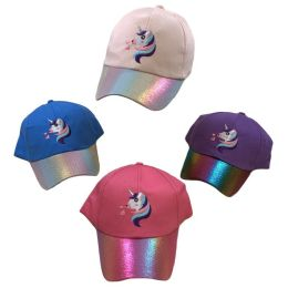 24 Units of Unicorn Girl's Embroidered Ball Cap - Baseball Caps & Snap Backs