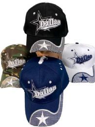 36 Units of Adjustable Baseball Hat Dallas With Star Assorted Color - Baseball Caps & Snap Backs