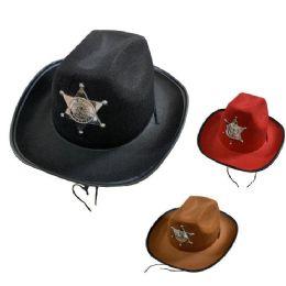 36 Units of Child's Felt Cowboy Hat With Deputy Sheriff Badge - Cowboy & Boonie Hat