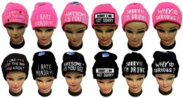 48 Units of Lady Girl Embroidered Knit Toboggans - Winter Beanie Hats