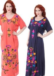12 Units of Rayon Plus Size Long Maxi Dresses With Sleeves - Womens Sundresses & Fashion