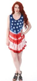 12 Units of Indian Rayon Top Tie Dye American Flag Design Assorted - Womens Sundresses & Fashion