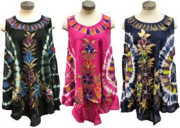 12 Units of Indian Rayon Top Tie Dye Hand Painted Flowers Assorted - Womens Sundresses & Fashion
