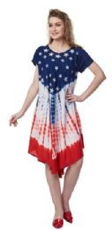 12 Units of USA Flag Rayon Umbrella Dresses Stars And Stripes - Womens Sundresses & Fashion