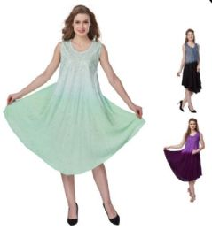 12 Units of Ombre Dye Rayon Plus Size Umbrella Dresses - Womens Sundresses & Fashion