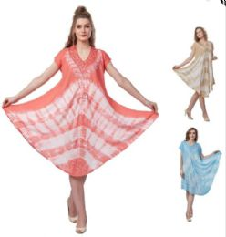 12 Units of Tie Dye Plus Size Rayon Umbrella Dresses - Womens Sundresses & Fashion