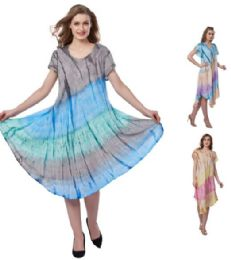 12 Units of Plus Size Pigment Dye Rayon Umbrella Dresses - Womens Sundresses & Fashion